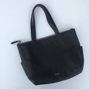 Fossil Mimi Shopper Black Leather Bag